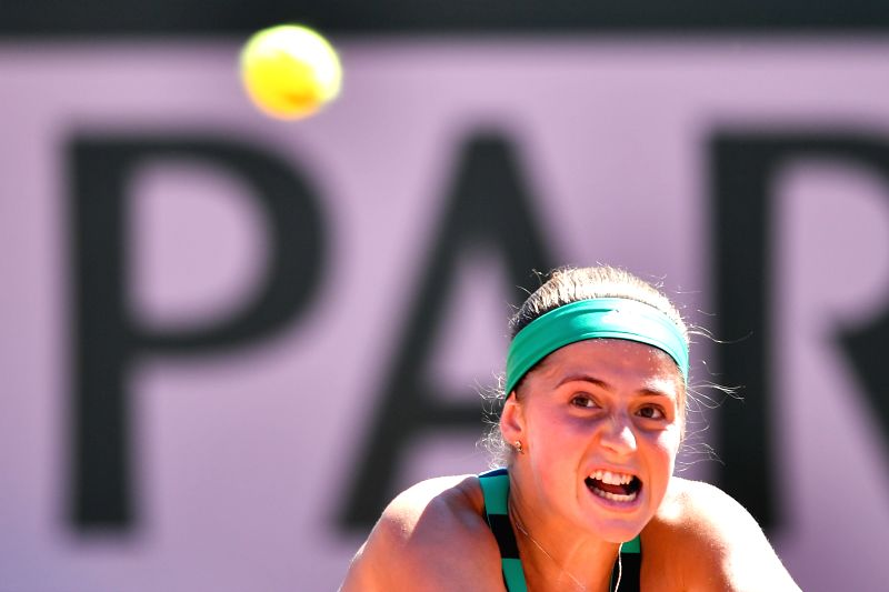 PARIS, June 10, 2017 - Jelena Ostapenko of Latvia eyes the ball during the women's singles final against Simona Halep of Romania at the French Open Tennis Tournament 2017 in Paris, France, on June ...