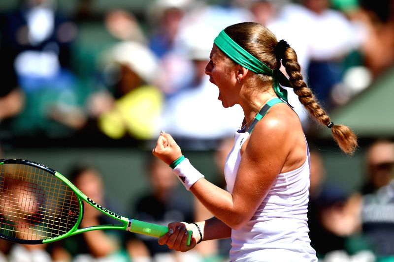 PARIS, June 10, 2017 - Jelena Ostapenko of Latvia celebrates a point during the women's singles final against Simona Halep of Romania at the French Open Tennis Tournament 2017 in Paris, France, on ...