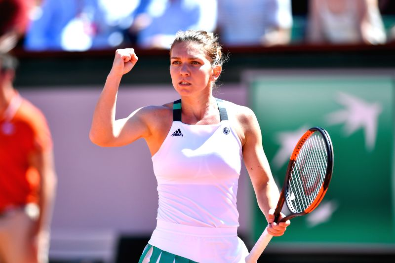 PARIS, June 10, 2017 - Simona Halep of Romania reacts as she plays against Jelena Ostapenko of Latvia during the women's singles final at the French Open Tennis Tournament 2017 in Paris, France, on ...