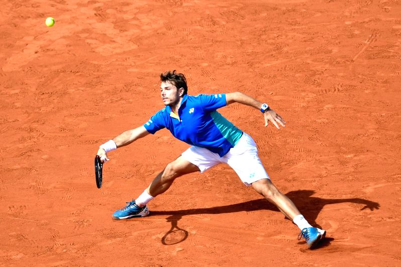 PARIS, June 10, 2017 - Stan Wawrinka of Switzerland returns the ball during the men's singles semifinal against Andy Murray of Britain at the French Open Tennis Tournament 2017 in Paris, France on ...