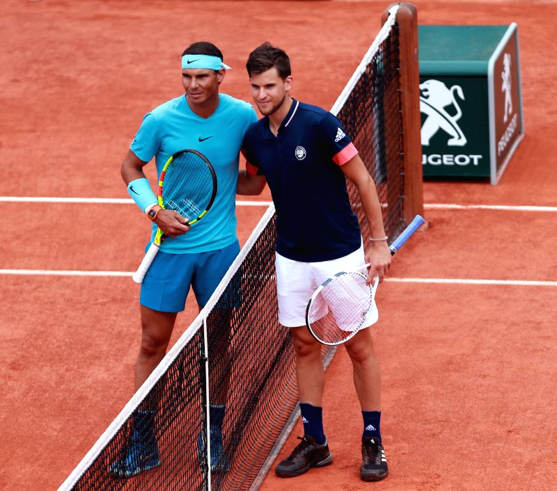 PARIS, June 10, 2018 - Dominic Thiem (R) of Austria and Rafael Nadal of Spain pose for photo prior to the final match at the French Open Tennis Tournament 2018 in Paris, France on June 10, 2018.