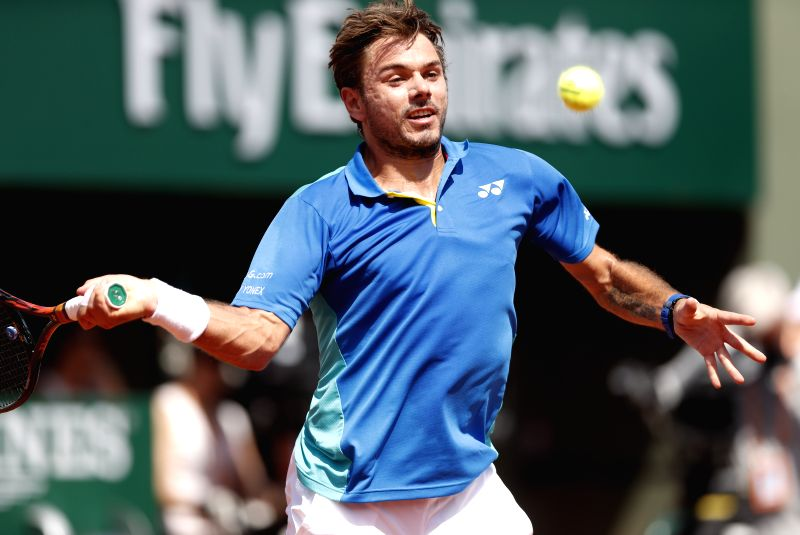 PARIS, June 11, 2017 - Stan Wawrinka of Switzerland competes during the men's singles final with Rafael Nadal of Spain at French Open tennis tournament 2017 at Roland Garros, in Paris, France on June ...