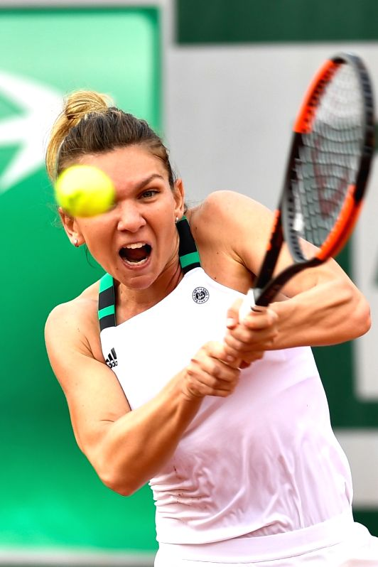 PARIS, June 2, 2017 - Simona Halep of Romania returns the ball to Tatjana Maria of Germany during the women's singles 2nd round match at the French Open Tennis Tournament 2017 in Paris, France on ...