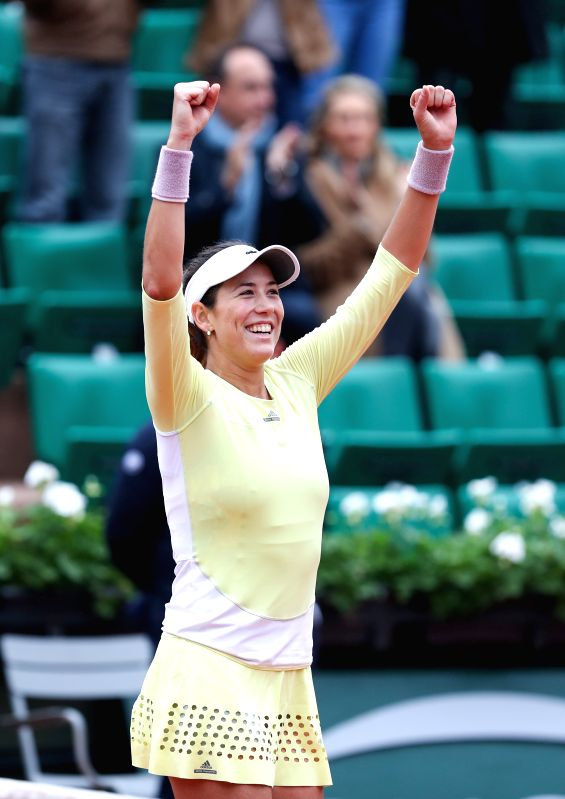 PARIS, June 3, 2016 - Garbine Muguruza of Spain reacts after the women's singles semifinal match with Samantha Stosur of Australia on the 2016 French Open tennis tournament at Roland Garros, in ...