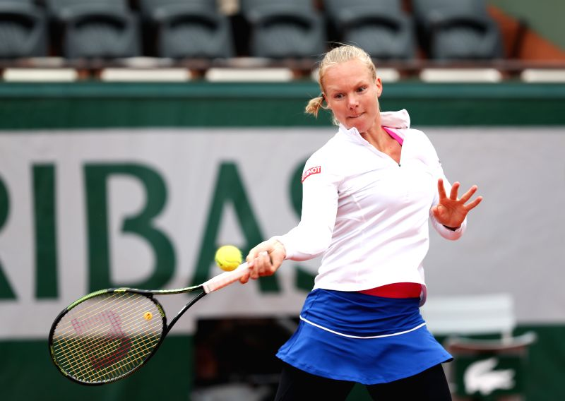 PARIS, June 3, 2016 - Kiki Bertens of the Netherlands competes during the women's singles semifinal match with Serena Williams of the United States on the 2016 French Open tennis tournament at Roland ...