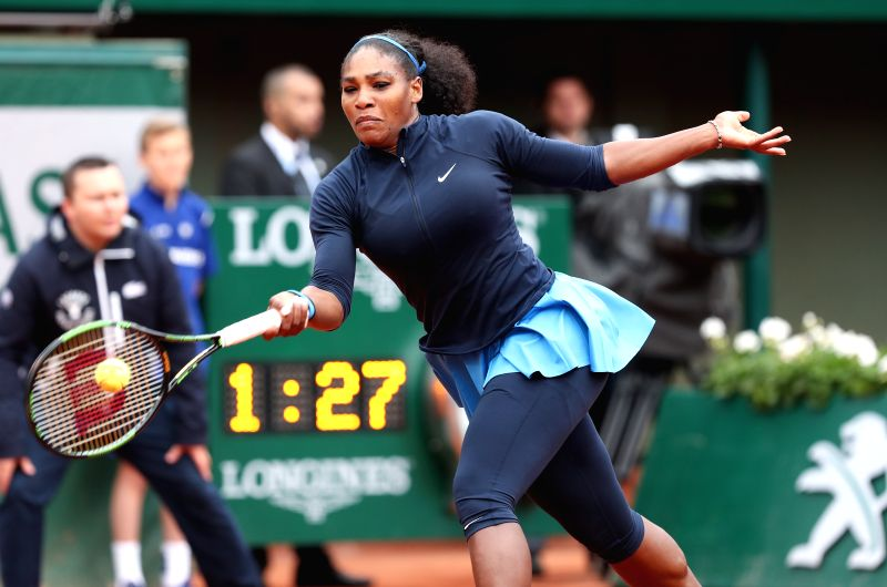 PARIS, June 3, 2016 - Serena Williams of the United States competes during the women's singles semifinal match with Kiki Bertens of the Netherlands on the 2016 French Open tennis tournament at Roland ...