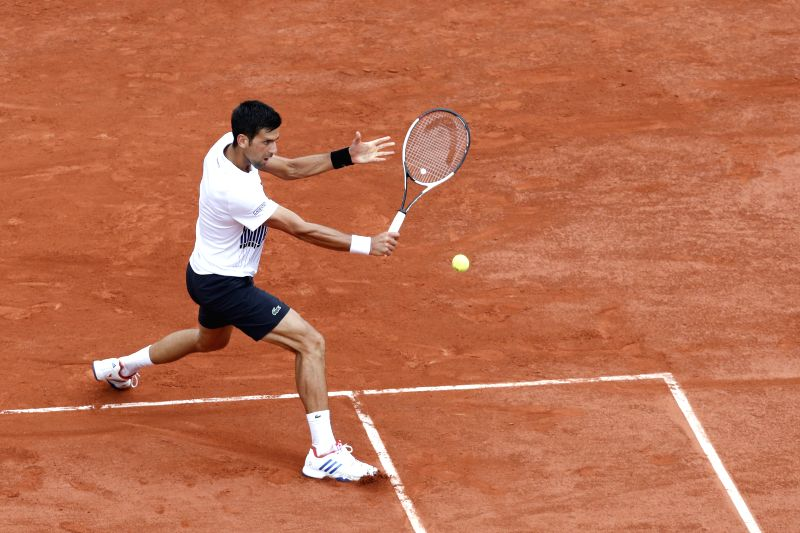 PARIS, June 3, 2017 - Novak Djokovic of Serbia returns the ball during the men's singles third round match against Diego Schwartzman of Argentina at French Open Tennis Tournament 2017 in Roland ...