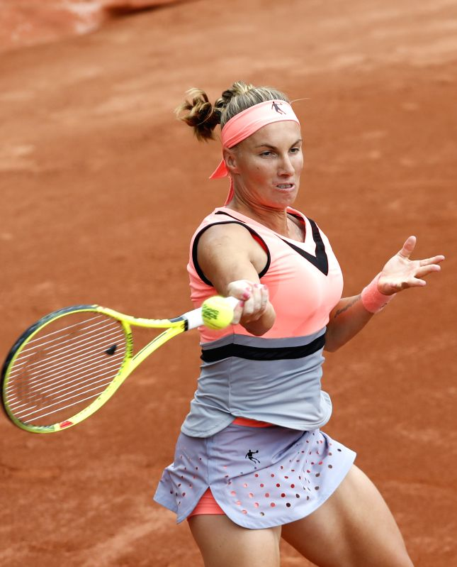 PARIS, June 3, 2017 - Svetlana Kuznetsova of Russia competes during the women's singles third round match against Zhang Shuai of China at French Open Tennis Tournament 2017 in Roland Garros, Paris, ...