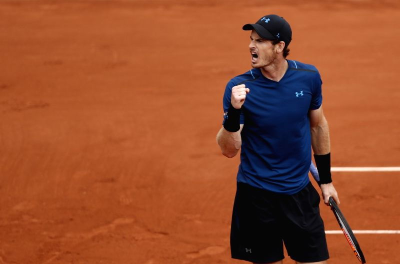 PARIS, June 4, 2017 - Andy Murray of Great Britain celebrates after the men's singles third round match with Juan Martin Del Potro of Argentina at French Open Tennis Tournament 2017 in Roland Garros, ...