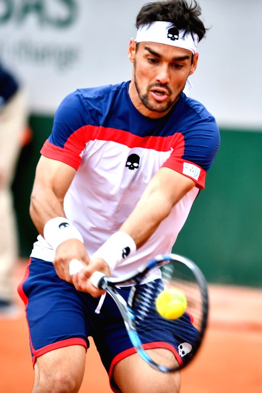 PARIS, June 4, 2017 - Fabio Fognini of Italy competes during the men's singles third round match with Stan Wawrinka of Switzerland at French Open Tennis Tournament 2017 in Roland Garros, Paris, ...