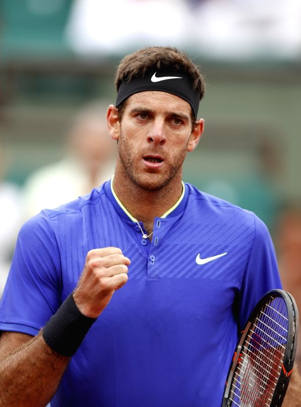 PARIS, June 4, 2017 - Juan Martin Del Potro of Argentina celebrates during the men's singles third round match with Andy Murray of Great Britain at French Open Tennis Tournament 2017 in Roland ...