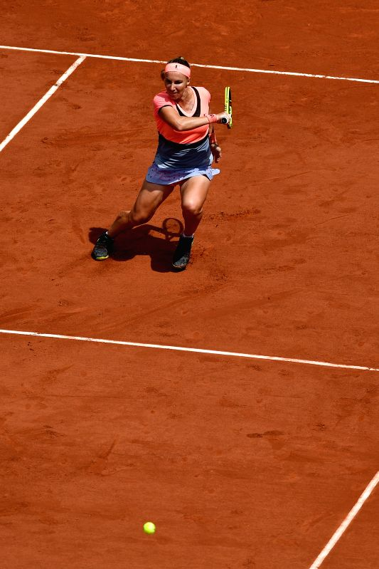 PARIS, June 4, 2017 - Svetlana Kuznetsova of Russia returns the ball to Caroline Wozniacki of Denmark during the women's singles round of 16 match at the French Open Tennis Tournament 2017 in Paris, ...