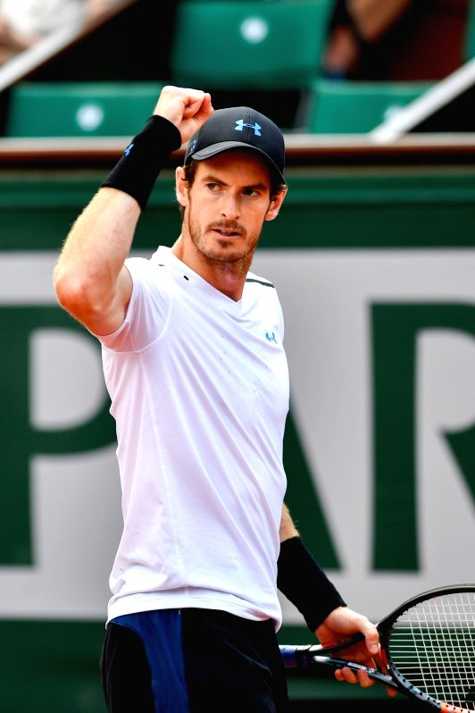 PARIS, June 5, 2017 - Andy Murray of Britain celebrates after scoring during the men's singles fourth round match against Karen Khachanov of Russia at the French Open Tennis Tournament 2017 in Paris, ...
