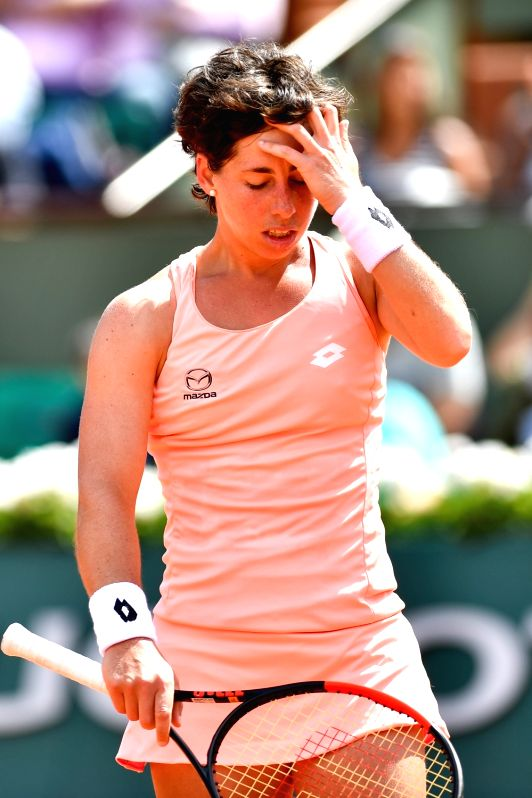 PARIS, June 5, 2017 - Carla Suarez Navarro of Spain reacts during the women's singles fourth round match against Simona Halep of Romania at the French Open Tennis Tournament 2017 in Paris, France, on ...