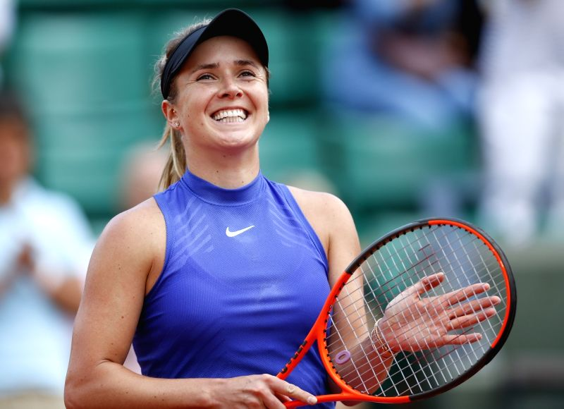 PARIS, June 5, 2017 - Elina Svitolina of Ukraine celebrates after winning the women's singles fourth round match against Petra Martic of Croatia at French Open Tennis Tournament 2017 in Roland ...