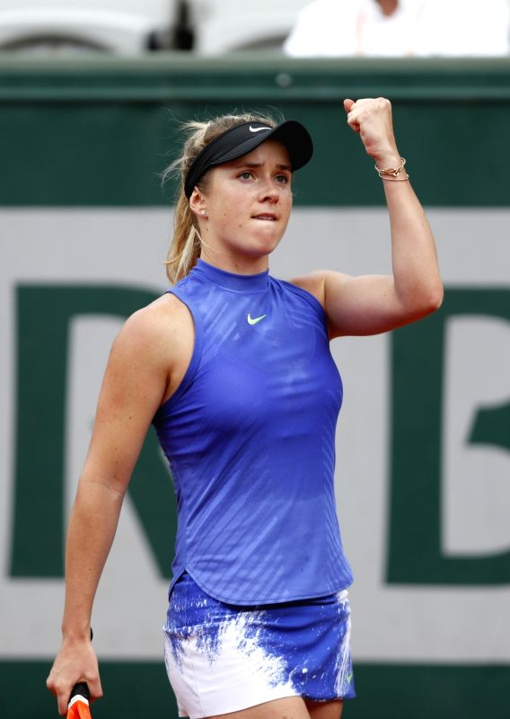 PARIS, June 5, 2017 - Elina Svitolina of Ukraine celebrates after scoring during the women's singles fourth round match against Petra Martic of Croatia at French Open Tennis Tournament 2017 in Roland ...
