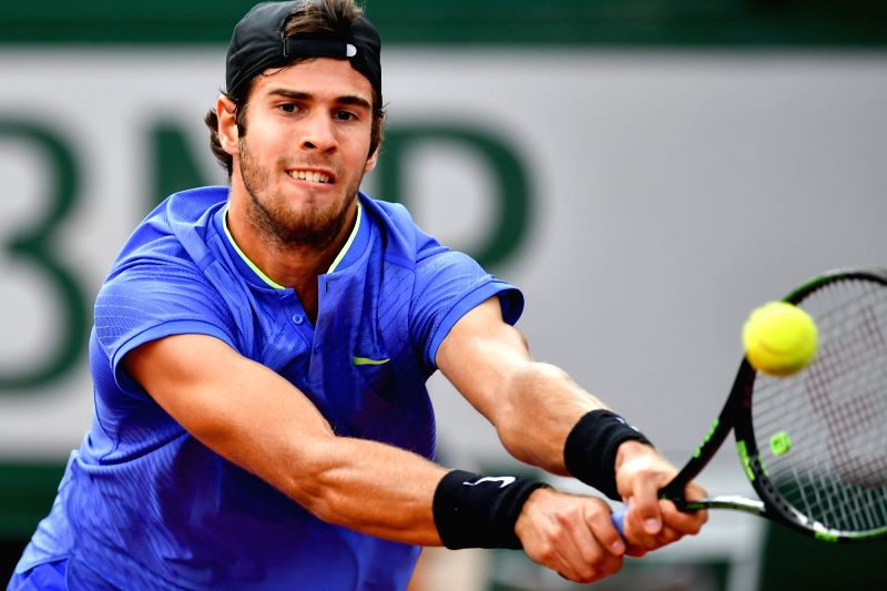 PARIS, June 5, 2017 - Karen Khachanov of Russia hits a return during the men's singles fourth round match against Andy Murray of Britain at the French Open Tennis Tournament 2017 in Paris, France, on ...