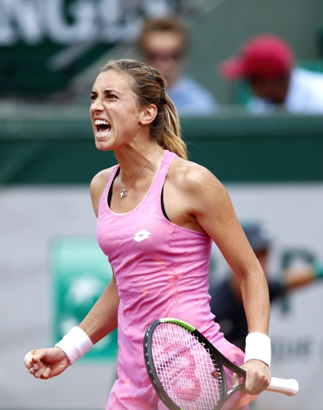 PARIS, June 5, 2017 - Petra Martic of Croatia reacts during the women's singles fourth round match against Elina Svitolina of Ukraine at French Open Tennis Tournament 2017 in Roland Garros, Paris, ...