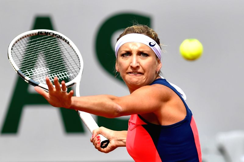 PARIS, June 5, 2017 - Timea Bacsinszky of Swiss returns the ball to Venus Williams of the U.S. during the women's singles round of 16 match at the French Open Tennis Tournament 2017 in Paris, France ...