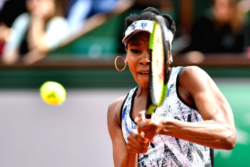 PARIS, June 5, 2017 - Venus Williams of the U.S. returns the ball to Timea Bacsinszky of Swiss during the women's singles round of 16 match at the French Open Tennis Tournament 2017 in Paris, France ...