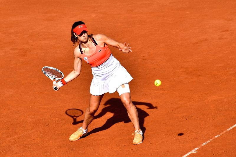 PARIS, June 6, 2017 - Alize Cornet of France returns the ball to Caroline Garcia of France during the women's singles round of 16 match at the French Open Tennis Tournament 2017 in Paris, France on ...
