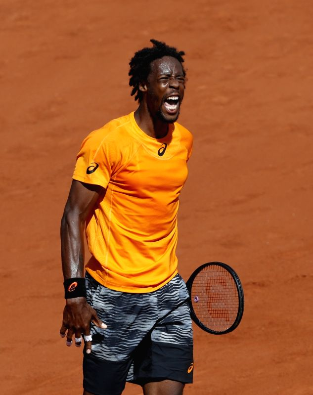 PARIS, June 6, 2017 - Gael Monfils of France reacts during the men's singles round of 16 match with Stan Wawrinka of Switzerland at French Open Tennis Tournament 2017 in Roland Garros, Paris, France ...