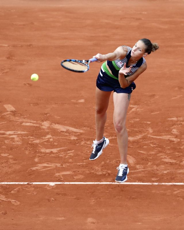 PARIS, June 6, 2017 - Karolina Pliskova of Czech Republic serves during the women's singles round of 16 match with Veronica Cepede Royg of Paraguay at French Open Tennis Tournament 2017 in Roland ...