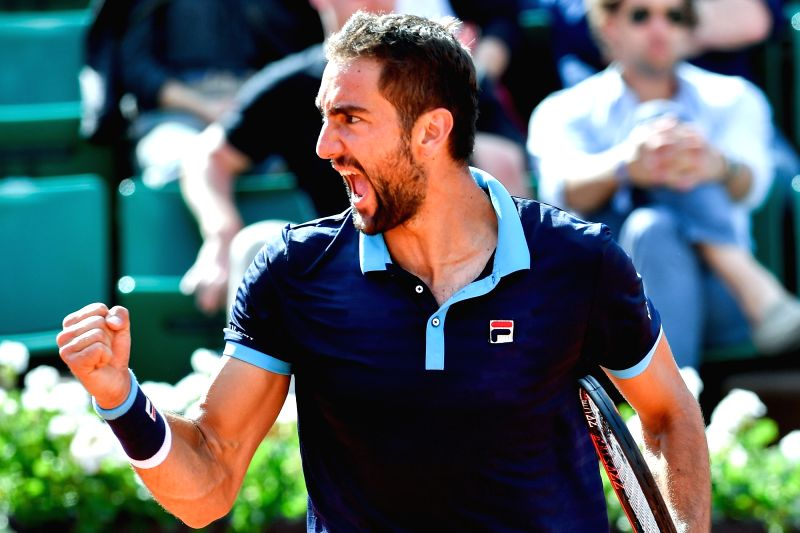 PARIS, June 6, 2017 - Marin Cilic of Croatia celebrates during the men's singles round of 16 match against Kevin Anderson of South Africa at the French Open Tennis Tournament 2017 in Paris, France on ...