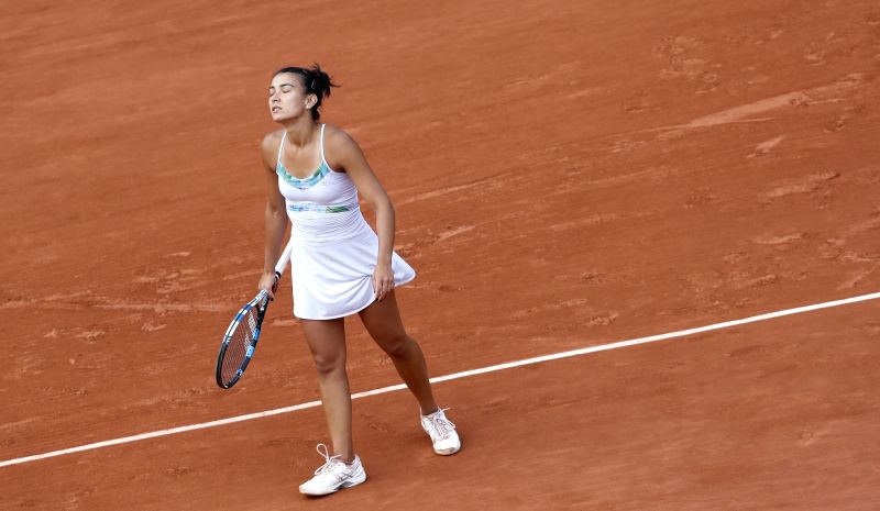 PARIS, June 6, 2017 - Veronica Cepede Royg of Paraguay reacts during the women's singles round of 16 match with Karolina Pliskova of Czech Republic at French Open Tennis Tournament 2017 in Roland ...