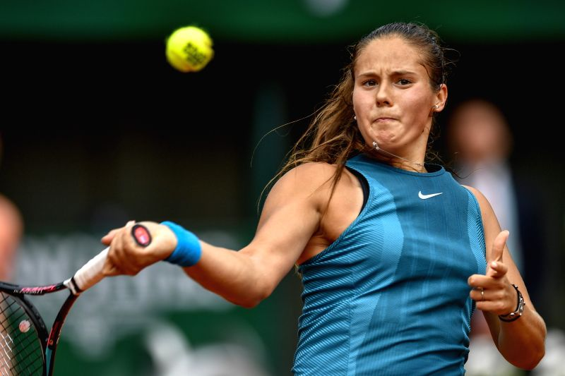 PARIS, June 6, 2018 - Daria Kasatkina of Russia returns a shot during the women's singles quarterfinal against Sloane Stephens of the United States at the French Open Tennis Tournament 2018 in Paris, ...