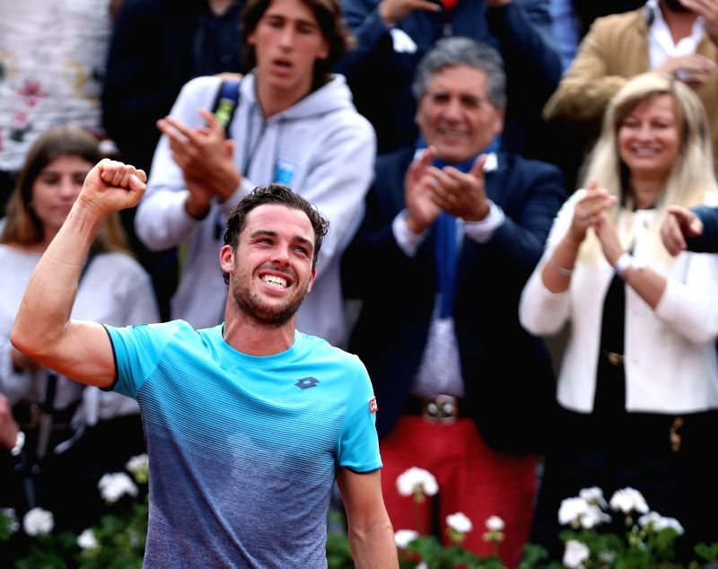 PARIS, June 6, 2018 - Marco Cecchinato of Italy celebrates after winning  men's singles quarterfinal match against Novak Djokovic of Serbia at the French Open Tennis Tournament 2018 in Paris, France ...