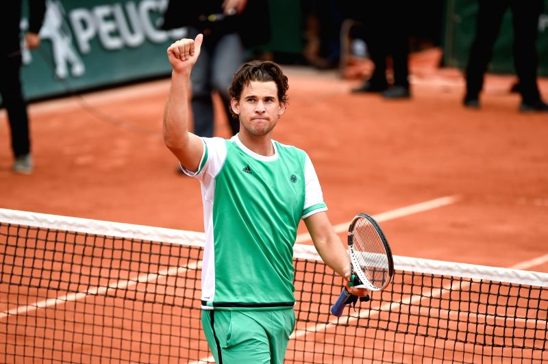 PARIS, June 7, 2017 - Dominic Thiem of Austria greets the spectators after the men's quarterfinal match against Novak Djokovic of Serbia at the French Open Tennis Tournament 2017 in Paris, France, on ...