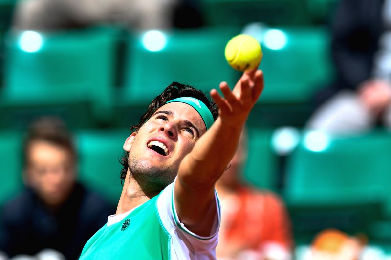 PARIS, June 7, 2017 - Dominic Thiem of Austria serves during the men's quarterfinal match against Novak Djokovic of Serbia at the French Open Tennis Tournament 2017 in Paris, France, on June 7, 2017. ...