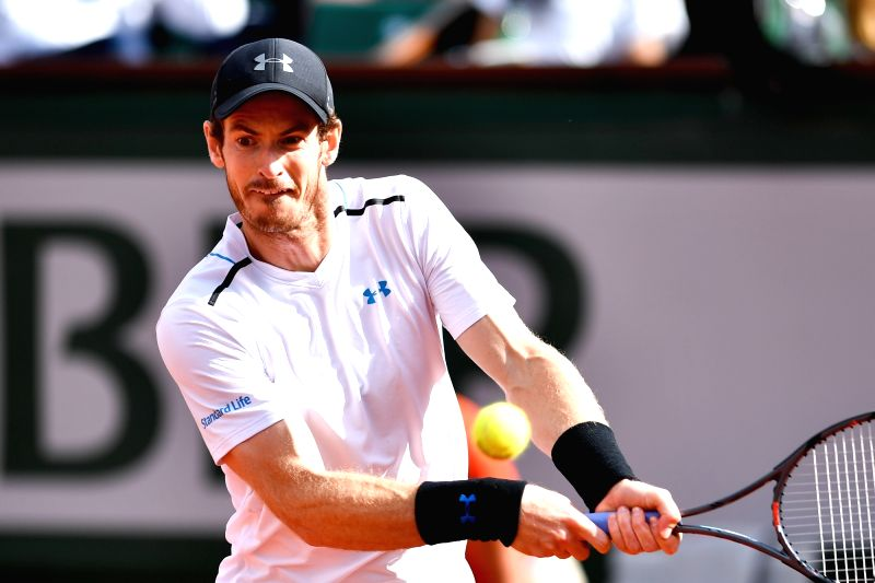 PARIS, June 8, 2017 - Andy Murray of Britain returns the ball during the men's quarterfinal against Kei Nishikori of Japan at the 2017 French Open Tennis Tournament in Paris, France on June 7, 2017. ...