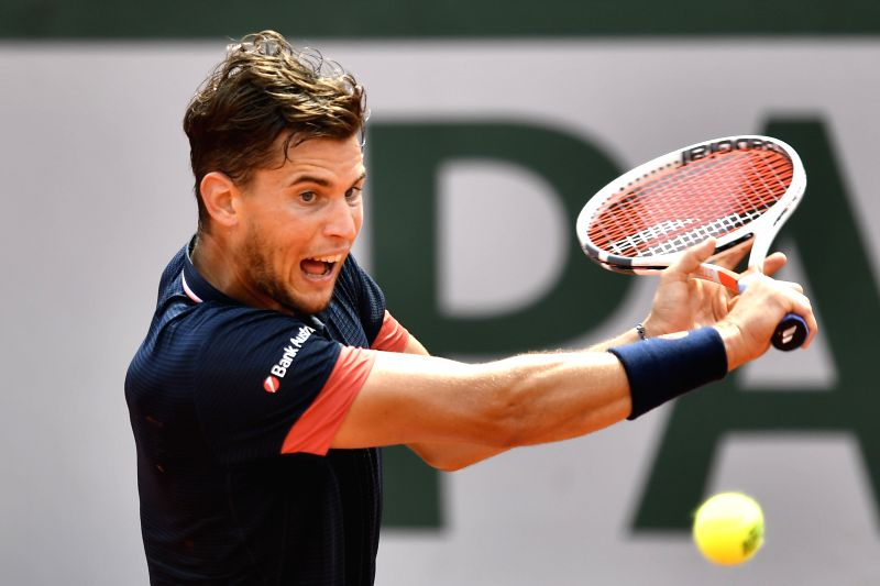 PARIS, June 8, 2018 - Dominic Thiem of Austria returns a shot during the men's singles semifinal match against Marco Cecchinato of Italy at the French Open Tennis Tournament 2018 in Paris, France on ...