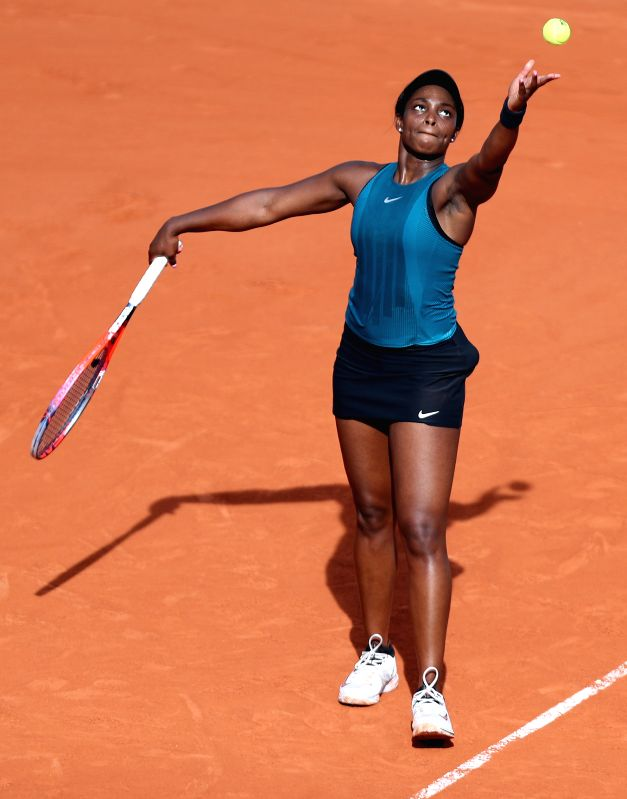 PARIS, June 8, 2018 - Sloane Stephens of the United States serves during the women's singles semifinal against Madison Keys of the United States at the French Open Tennis Tournament 2018 in Paris, ...