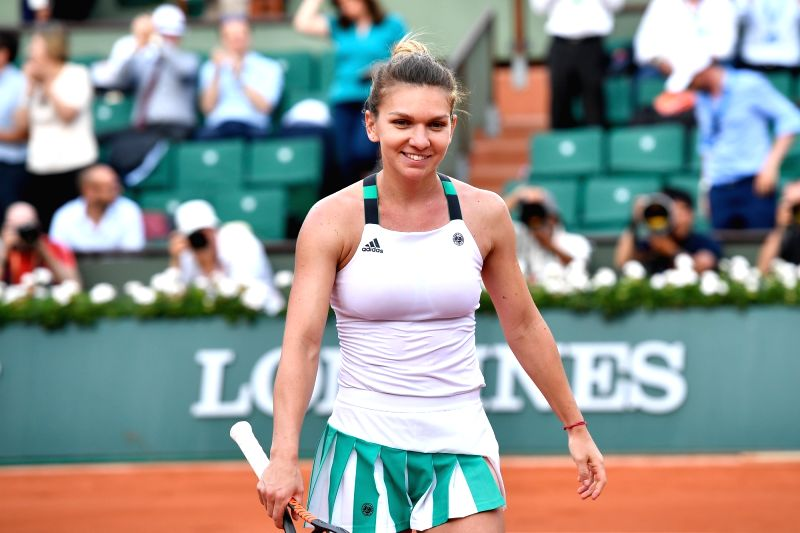 PARIS, June 9, 2017 - Simona Halep of Romania reacts after winning the women's singles semifinal against Karolina Pliskova of Czech Republic at the 2017 French Open Tennis Tournament in Paris, France ...