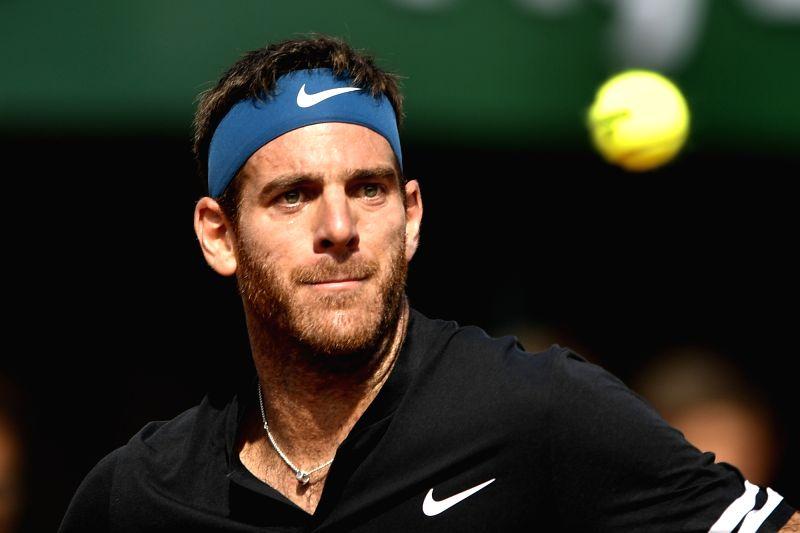 PARIS, June 9, 2018 - Juan Martin Del Potro of Argentina returns a shot during the men's singles semifinal match against Rafael Nadal of Spain at the French Open Tennis Tournament 2018 in Paris, ...