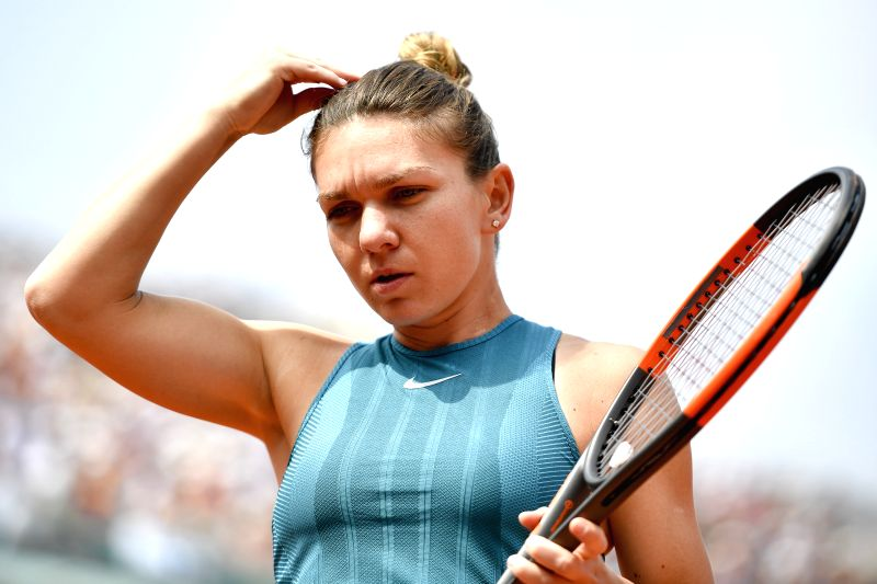 PARIS, June 9, 2018 - Simona Halep of Romania reacts during the women's singles final against Sloane Stephens of the United States at the French Open Tennis Tournament 2018 in Paris, France on June ...