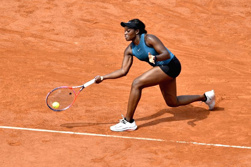 PARIS, June 9, 2018 - Sloane Stephens of the United States returns a shot during the women's singles final against Simona Halep of Romania at the French Open Tennis Tournament 2018 in Paris, France ...