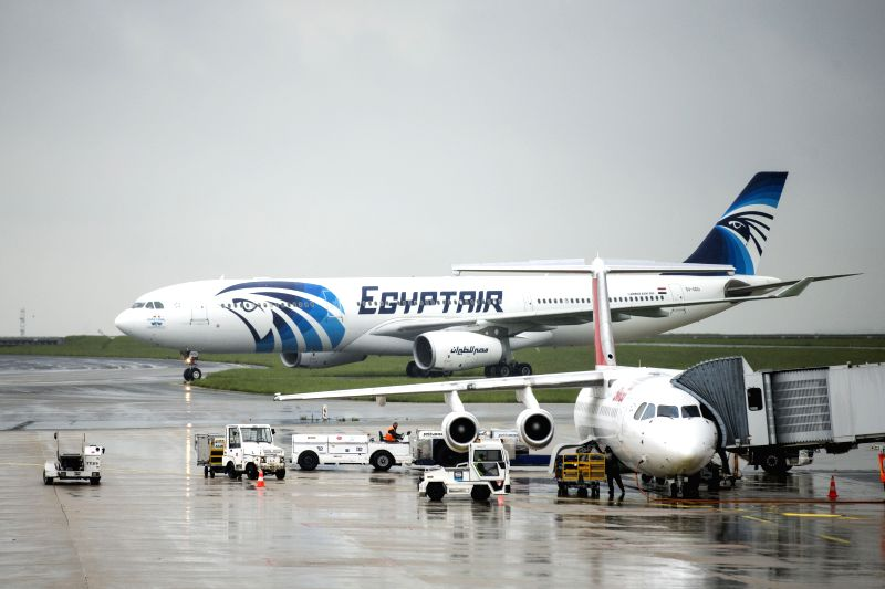 PARIS, May 19, 2016 - Photo taken on May 19, 2016 shows an airplane of EgyptAir at the Charles de Gaulle Airport, in Paris, France. Egypt's Foreign Ministry confirmed to Egyptian Civil Aviation ...