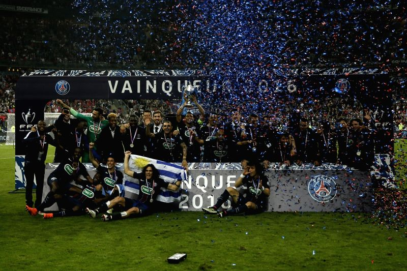 PARIS, May 22, 2016 - Paris Saint-Germain's players celebrate after winning the French Cup final football match beween Marseille (OM) and Paris Saint-Germain (PSG) on May 21, 2016 at the Stade de ...