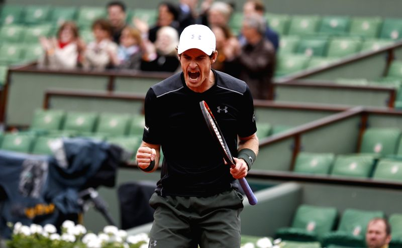 PARIS, May 24, 2016 - Andy Murray of Great Britain celebrates during the continuation of men's singles first round match against Radek Stepanek of Czech Republic on day 3 of 2016 French Open tennis ...