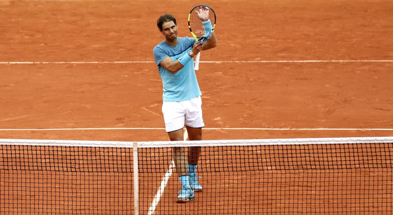 PARIS, May 24, 2016 - Rafael Nadal of Spain greets the audience after winning the match of men's singles first round match against Sam Groth of Australia on day 3 of 2016 French Open tennis ...