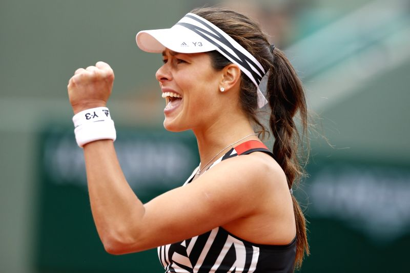 PARIS, May 25, 2016 - Ana Ivanovic of Serbia reacts during the women's singles first round match against Oceane Dodin of France at the French Open tennis tournament at Roland Garros in Paris, France, ...