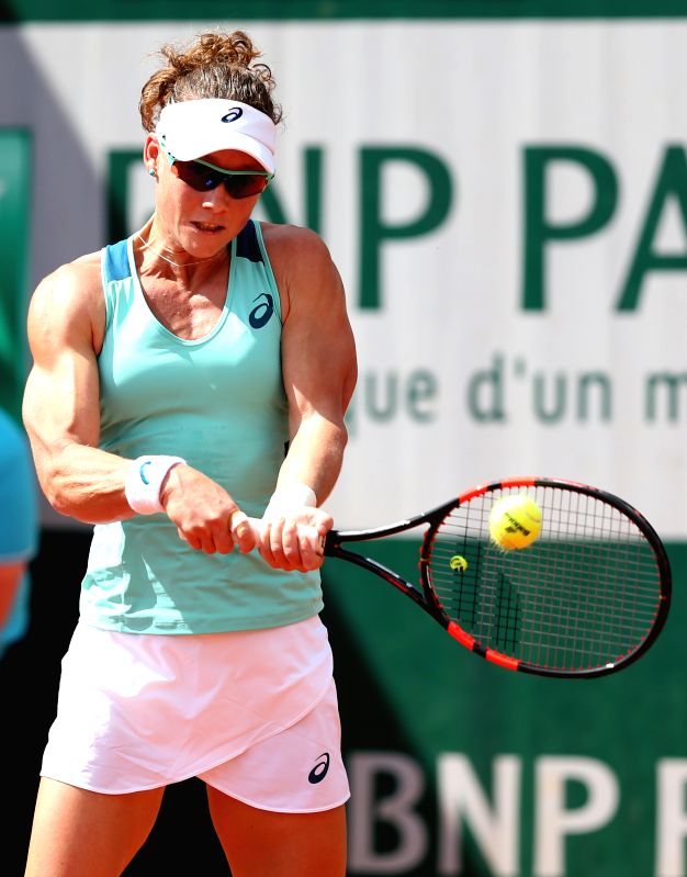 PARIS, May 26, 2016 - Samantha Stosur of Australia returns the ball during the women's singles second round match against Zhang Shuai of China on day 4 of 2016 French Open tennis tournament at Roland ...