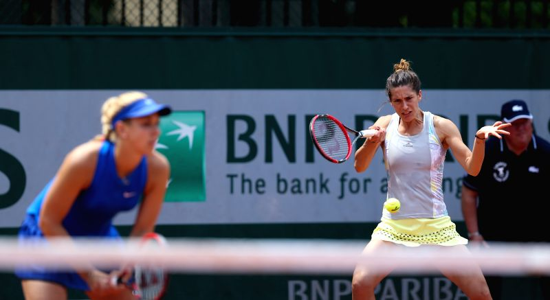 PARIS, May 27, 2016 - Sabine Lisicki/Andrea Petkovic(R) of Germany compete during the women's doubles second round match with Xu Yifan/Zheng Saisai of China  on day 6 of 2016 French Open tennis ...