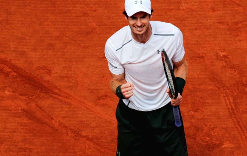 PARIS, May 28, 2016 - Andy Murray of Great Britain reacts after the men's singles third round match against Ivo Karlovic of Croatia on day 6 of 2016 French Open tennis tournament at Roland Garros, in ...