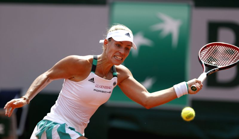 PARIS, May 28, 2017 - Angelique Kerber of Germany returns a shot during the women's singles first round match with Ekaterina Makarova of Russia at French Open Tennis Tournament 2017 in Roland Garros, ...