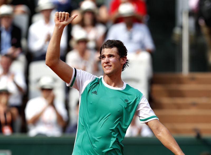 PARIS, May 29, 2017 - Dominic Thiem of Austria celebrates after winning the men's singles first round match against Bernard Tomic of Australia at French Open Tennis Tournament 2017 in Roland Garros, ...